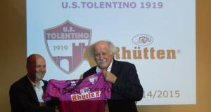 Mario Marinelli con il presidente del Tolentino, Fabio Mazzocchetti