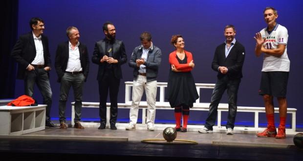 Zorzi sul palco del Feronia assieme (fra gli altri) a Giuliani, coach della Lube