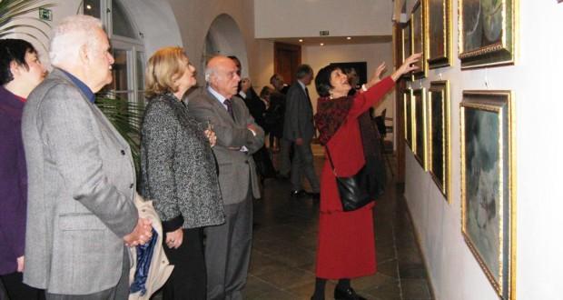 Un'immagine delle opere in mostra all'Istituto italiano di cultura di Praga