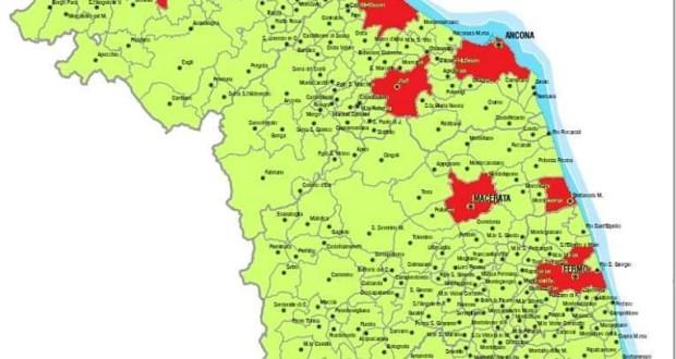 La mappa dei punti nascita che resteranno aperti nelle Marche (fonte Patrizia Terzoni)