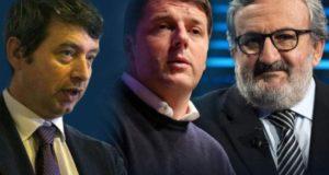 Da sinistra: Orlando, Renzi ed Emiliano