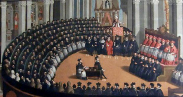 Dipinto dell'assemblea del Concilio di Trento con Massarelli al centro dell'emiciclo