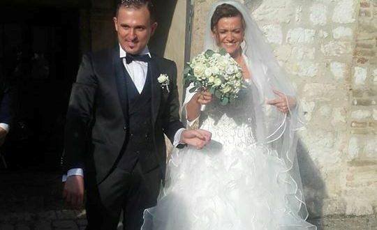 Martina e David all'uscita dalla basilica