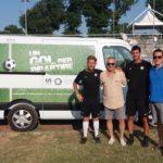 I rappresentanti dell'Inter assieme all'assessore Paoloni e al presidente del vivaio della Settempeda, Andrea Cruciani