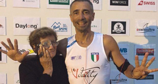 Alberto Cambio con la mamma Severina che lo segue in questa competizione elvetica