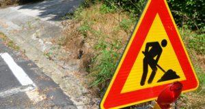Lavori sulla strada per Serripola