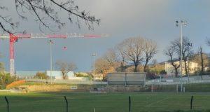 La tribunetta demolita che ora sarà ricostruita