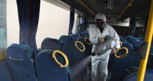 Sanificazione all'interno di uno dei mezzi di Contram Mobilità