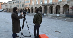 Una fase delle riprese di Sky in Piazza del Popolo