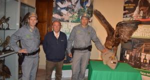 L'aquila reale con gli agenti della Forestale e il presidente dell'Atc
