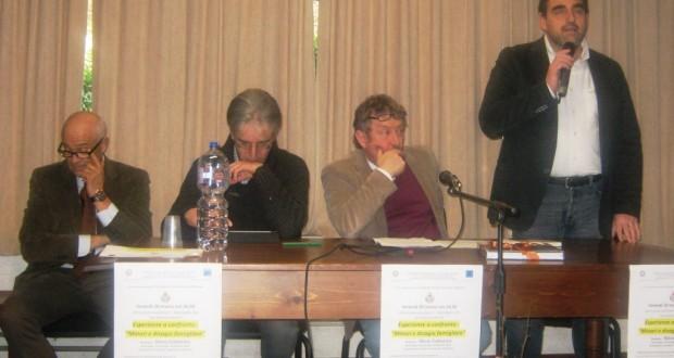 Da sinistra: Vincenzo Felicioli, Tarcisio Antognozzi, Silvio Cattarina e il preside Sandro Luciani