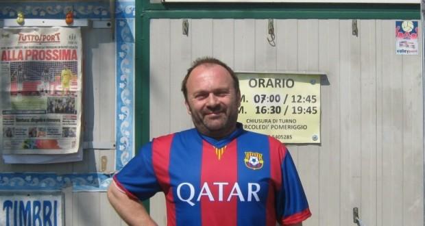Graziano Borgiani con la maglia del Barcellona