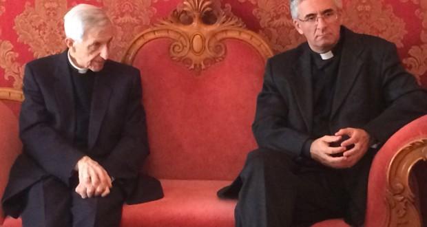 Don Antonio Napolioni assieme al vescovo emerito di Cremona, mons. Dante Lafranconi