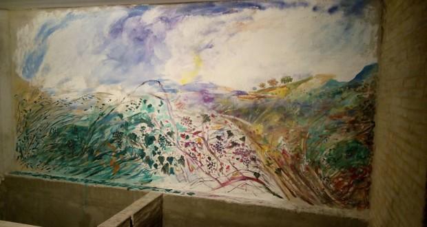 La vecchia fonte con lo sfondo dipinto da Adriano Crocenzi