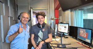 Valerio e il papà Claudio negli studi di RDS