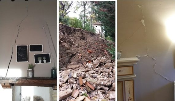 """Alcune immagini de """"La Villa"""" danneggiata dal sisma"""