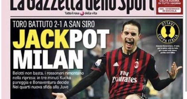 La prima pagina di oggi della Gazzetta dello sport