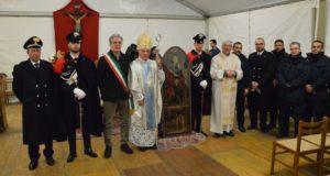 """L'icona all'interno del tendone parrocchiale del """"Don Orione"""""""