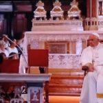 L'intervento del vescovo Antonio Napolioni di fronte al Pontefice
