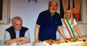 Padre Igino con il vescovo Brugnaro e il sindaco Rosa Piermattei