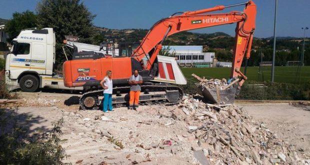 Il cantiere dell'Itis demolito