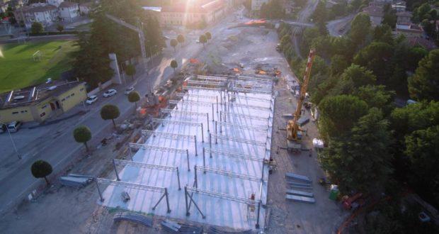 Il cantiere dell'Itis, con l'avanzamento dei lavori per la realizzazione dei laboratori