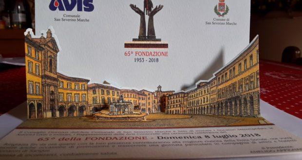 La cartolina per i 65 anni di ininterrotta attività di donazione dell'Avis San Severino