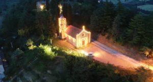La chiesa del Torrone illuminata dalle luci posizionate dal Comitato di Serralta
