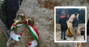 La fontana e, nel riquadro, la benedizione da parte di don Luca Ferro; accanto a lui il papà di Simone, Enrico Forconi
