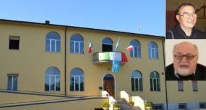 La sede dell'Istituto, a Berta, e a lato don Donato e padre Igino
