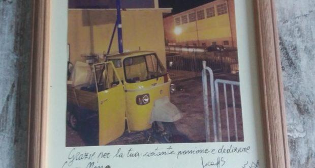"""La foto della mitica """"Ape"""" di Nazzareno Grillo nel quadro-ricordo della """"Sab"""" San Severino"""