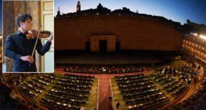 Lo Sferisterio e nel riquadro Paolo Moscatelli