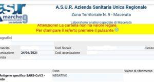 Referto online dopo il test anti-Covid