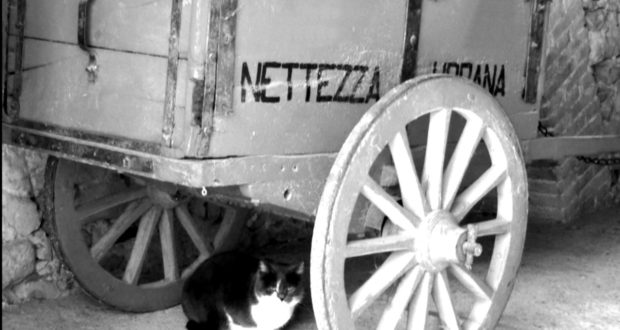 Un vecchio carretto della nettezza urbana
