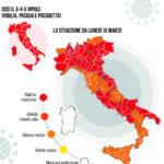 L'Italia colorata di rosso e arancione