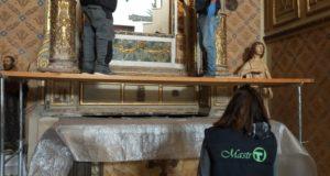 I lavori preparatori nella chiesa di San Rocco