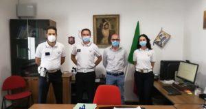 I nuovi agenti con l'assessore Orlandani e il comandante Bizzarri