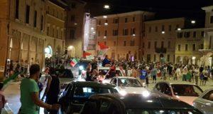 Il tripudio in Piazza del Popolo