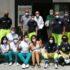 Dino Marinelli con il gruppo in servizio nell'ultimo giorno di apertura del centro vaccinale all'Italia
