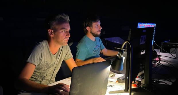 Francesco Vignati e Davide Monaci durante le prove luci