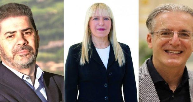 I tre aspiranti alla carica di sindaco: Borioni, Piermattei, Antognozzi